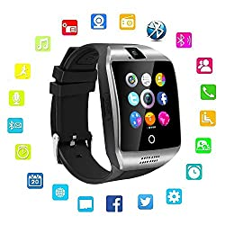 Upgraded Large Screen Smart Watch with Camera, Touch Screen Smartwatch Supporting Text/Calls/Pedometer/for Samsung/LG/ All Android/iOS Smart Phones (Black & Silver)