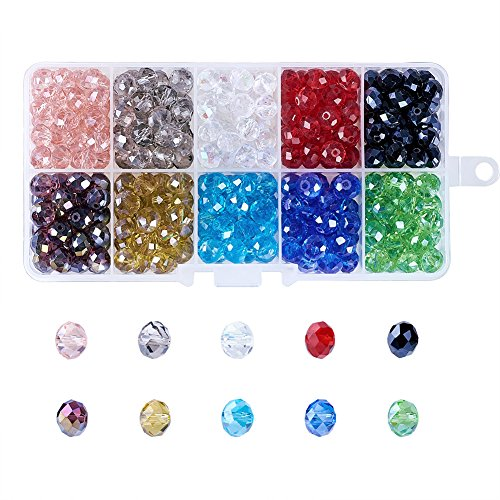 - Kissitty 8mm 10 Colors Transparent Crystal Faceted Glass Briolette Rondelle Spacer Loose Beads Pearl Luster Plated About 300pcs with Storage Box