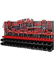 PAFEN Wandplank | 1728 x 780 mm | Opbergsysteem met gereedschapshouders en stapelboxen - wandplaten extra sterk PAFEN schudrek (rood/zwart)