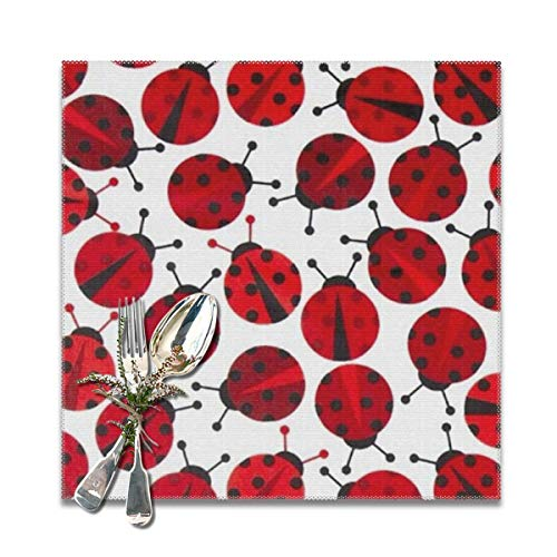 - LuJiaoGann Red Ladybugs Placemat Set of 6 Non-Slip Insulation Placemat Washable Table Mats Easy to Clean(6pcs Placemats)