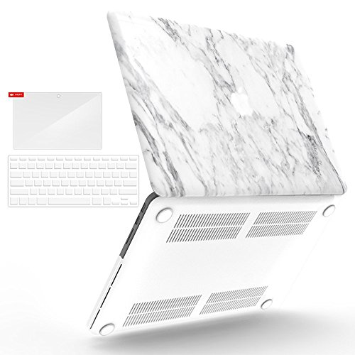 iBenzer Basic Soft-Touch Series Plastic Hard Case, Keyboard Cover, Screen Protector for Apple Previous Generation MacBook Pro 13-inch 13'' with Retina Display A1425/1502, White Marble Plastic Keyboard