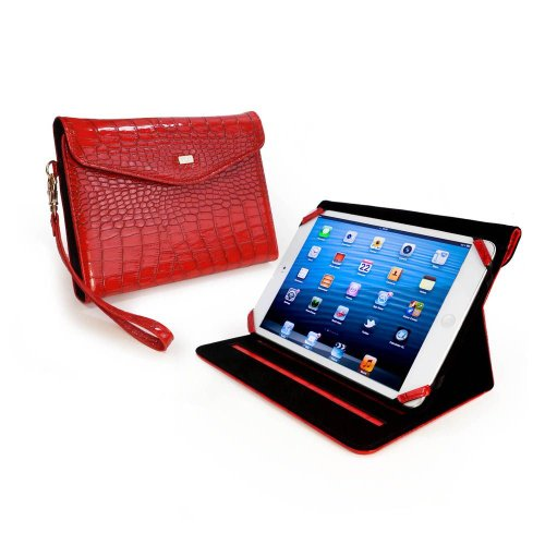 TLC Croc Patent Leather Clutch Purse Case Cover/Stand for Apple iPad Mini/Amazon Kindle Fire HD - Rouge
