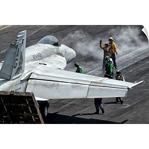 CANVAS ON DEMAND Giovanni Colla Wall Peel Wall Art Print Entitled Flight Deck Crew Position an F/A-18E Super Hornet into Launch Position 18