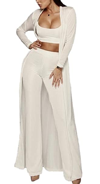 0ea5145175 FLCH+YIGE Women Casual 3 Piece Outfit Tube Top Long Kimono Cardigan and  Pants White M  Amazon.ca  Clothing   Accessories