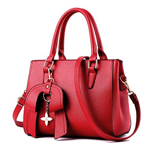 RUIREN Fashion Bolsa Portátil Messenger Shoulder Bag Borgoña