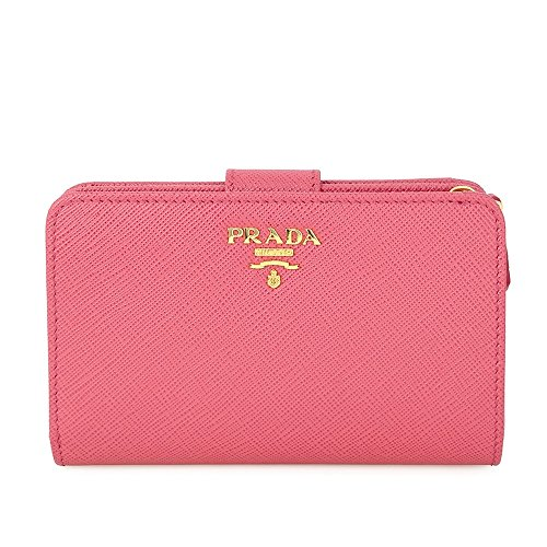 Prada Bi-fold Zip Saffiano Leather Wallet - Peonia