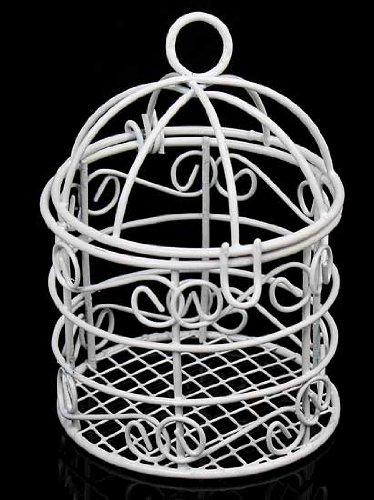 Package of 12 Small White Metal Bird Cages for Wedding Favors, Party Decorations & Crafts - 2