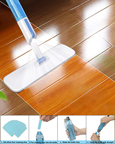 Microfiber Spray Mop for Floor Cleaning,AYOTEE Hardwood Floor Mop with 30Pcs Floor Cleaning Slices,3 Washable Mop Pads,1 Refillable Spray Bottle,Dust Mop Wet Mop for Laminate,Hardwood,Ceramic,Tile
