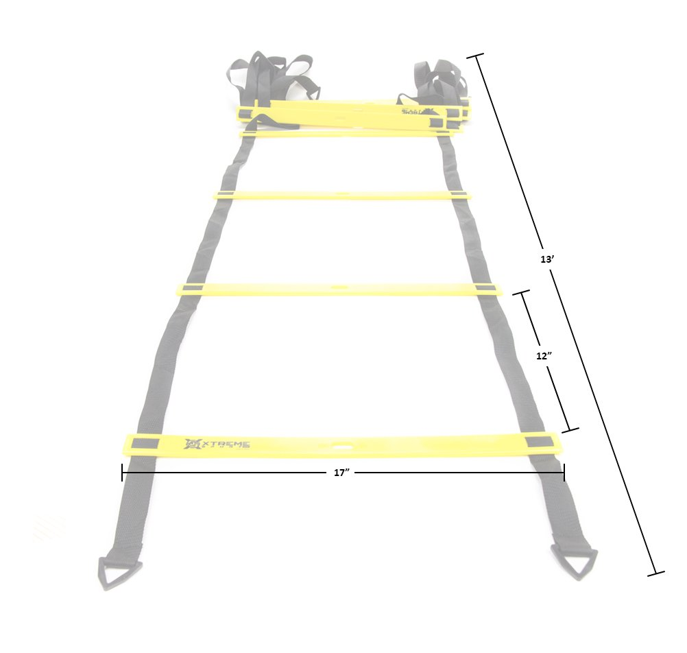 Premium Agility Speed Ladder - 13' Long with 12 Adjustable Rungs, Ideal for Soccer/Football, Basketball, Hockey, Speed Training, Kids, Coaches and All Sports. Convenient Carry/Storage Bag Included. by Xtreme Sport DV (Image #5)