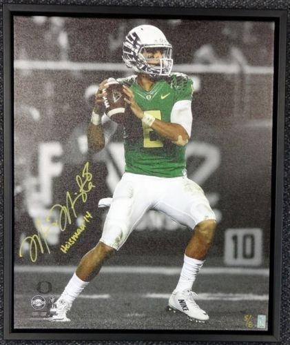 Marcus Mariota Autographed Signed Framed 20x24 Canvas Photo Oregon #/8 Mm 91862 Autographed College Art