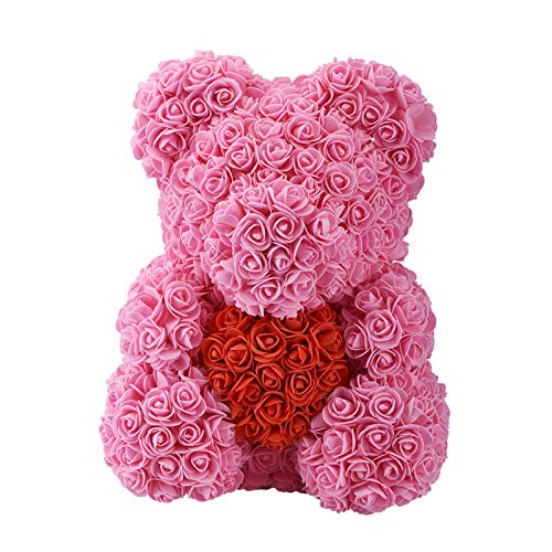 DT-CHARGER Forever Roses Teddy Bear Artificial Rose Anniversary Christmas Valentines Gift Forever Lovely 10 Inch (Pink) (Pink Teddy Candle Bear)