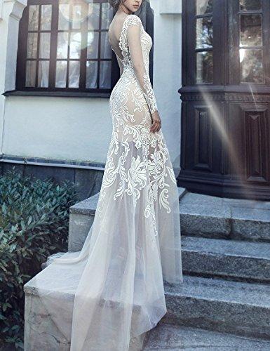 Spitze Damen Zug Elfenbein Hochzeitskleider mit Abnehmbaren Brautkleider Overskirt Hotprom Meerjungfrau Lange Scoop Neck rmel Yqpg6aw