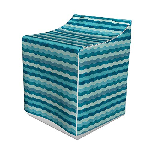 (Ambesonne Abstract Washer Cover, Ocean Themed Wave Design Marine Artwork Aquatic Color Palette Horizontal Lines, Easy to Use Bathroom Accent Fabric, 29