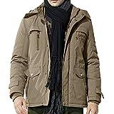 FTXJ Men's Winter Medium Length Hoodie Thickened Plus Size Cotton Padded Jacket Coat