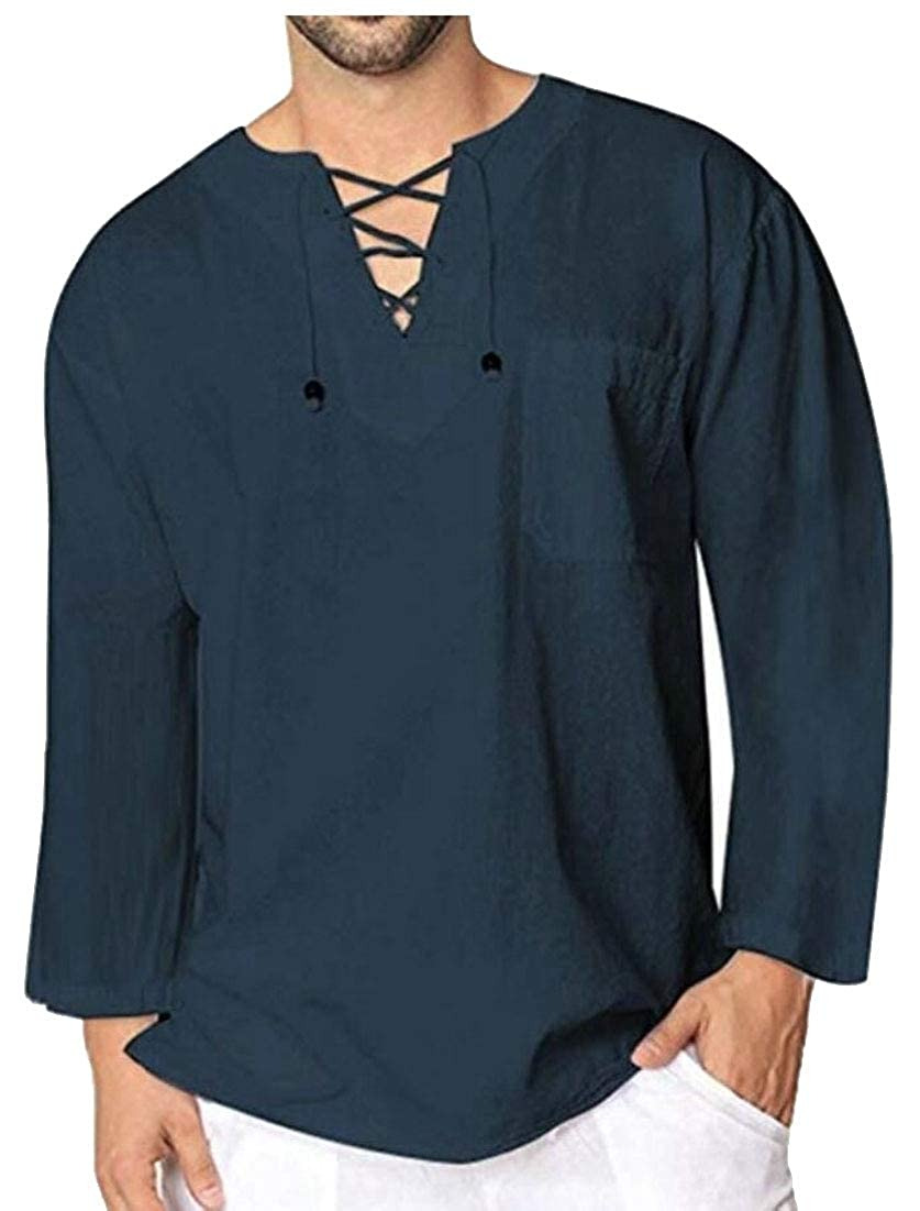 Gocgt Men Fashion Casual Tops Tee Classic Fit Basic Shirts Long Sleeve Lace up T Shirts