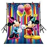 5x7Ft Cartoon Style Backdrop, Mickey Mouse and Balloons Backdrop, for Child's Party Color Stripes Backdrop YouTube Backdrop TMVV011