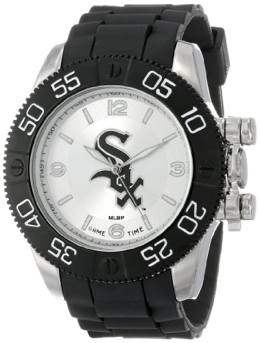 White Game Sox Watch Chicago (Game Time Men's 'Beast' Quartz Metal and Polyurethane Casual Watch, Color:Black (Model: MLB-BEA-CWS))