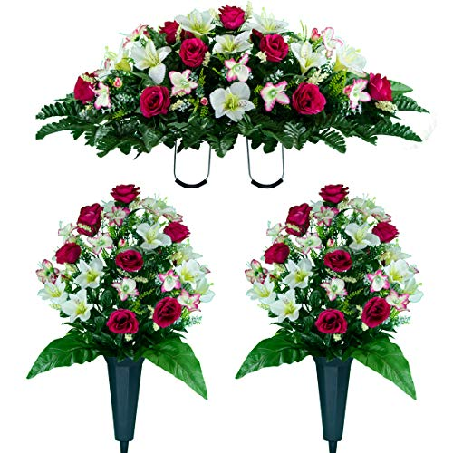 Sympathy Silks Artificial Cemetery Flowers - Realistic Vibrant Roses, Outdoor Grave Decorations - Non-Bleed Colors, and Easy Fit - Two Pink White Rose Bouquets and One Pink White Rose Saddle ()