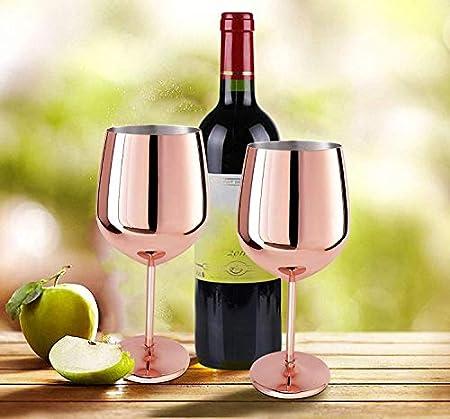 D L D - Copa de vino de cobre (2 piezas, vidrio de vino tinto, acero inoxidable cepillado, para champán, para cualquier evento, oro rosa, 500 ml)