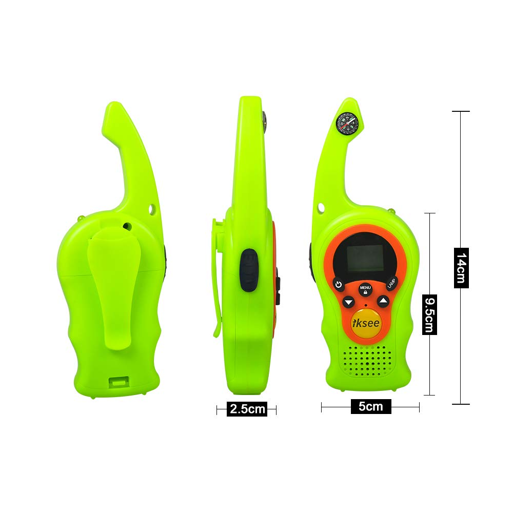 iKsee 2019 Must-Have Dung Beetle Walkie Talkie Set for Adults and Kids with Compass Flashlight, 3+ Mile Long Range Two Way Radios Toys Gifts for 5-12 Boys Girls Awards and Family Games (Green,1 Pair) by iKsee (Image #5)