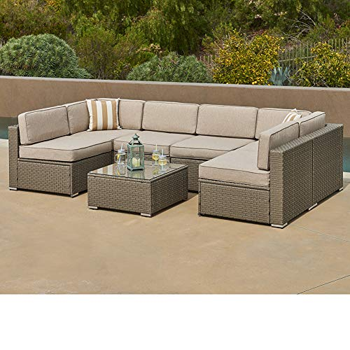 SUNCROWN Outdoor Furniture 7-Piece Patio Wicker Sofa Set Washable Seat Cushions and Glass Coffee Table, Waterproof Cover and Clips, Grey (Furniture Patio Hawaiian)