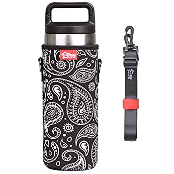 YookeeHome Neoprene Water Bottle Sleeve for 18oz YETI Tumbler with Removable Shoulder Strap, Insulated Bottle Holder for YETI, Paisley, 18oz