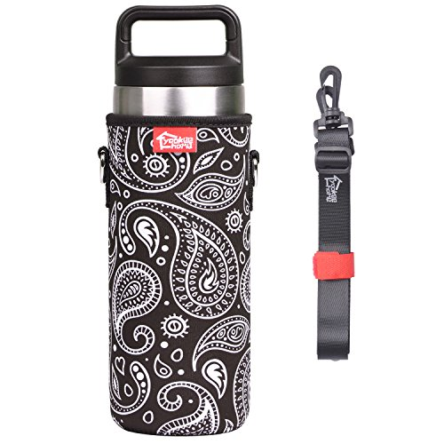 YookeeHome Neoprene Water Bottle Sleeve for 18oz YETI Tumbler with Removable Shoulder Strap, Insulated Bottle Holder for YETI, Paisley, - Paisley Bottle Park Bag