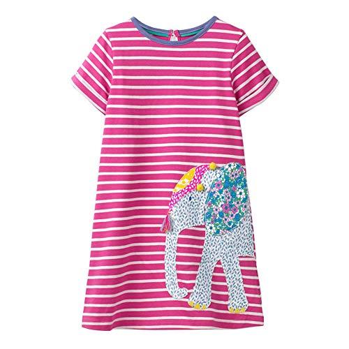 VIKITA Toddler Kid Girls Summer Casual Sequin Short Sleeve Cotton Blue Dress JM6267 8T -