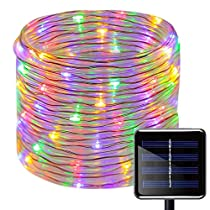 Solar Rope String Lights,WONFAST Waterproof 39ft/12M 100 LEDs Copper Wire Outdoor Tube Fairy String Lights for Christmas Garden Yard Path Fence Tree Backyard (Blue)