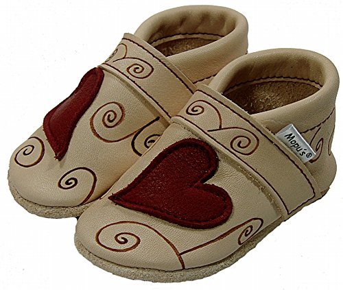 Vermelho Mopu's® couro Sapatos Artesanal Qualidade Coração Puschen Eco Alemanha Couro Marca De Rastejando Com wwUY1rv