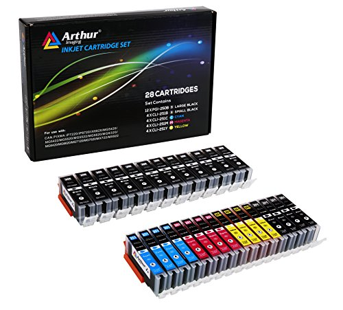 Canon Compatible Inkjet Cartridge - Arthur Imaging Compatible Ink Cartridge Replacement for Canon PGI-250XL CLI-251XL for use with PIXMA MX922 MG5520 (12 Large Black, 4 Small Black, 4 Cyan, 4 Yellow, 4 Magenta, 28-Pack)