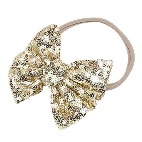 Song Qing Baby Infant Girls Hair Band Sequined Bow Headband Turban Knot Hair Headwear - Bow Gold Small
