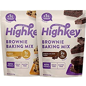 Well-Being-Matters 514Qo3BWB5L._SS300_ HighKey Keto Snacks - Low Carb Fudge Brownie Mix & Original Blondie Brownie Mix - Gluten & Grain Free Foods - No Sugar…
