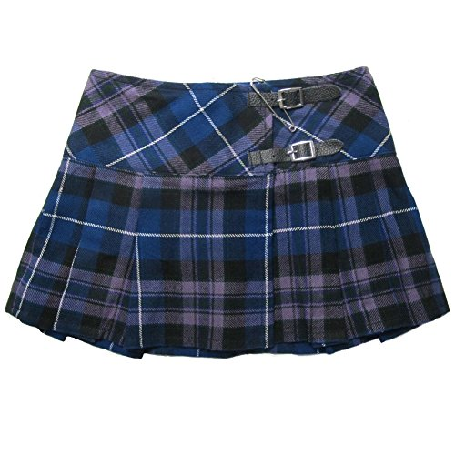 Ladies' Purple Tartan 13 Inch Pleated Mini Skirt/Micro Mini Kilt - US 6