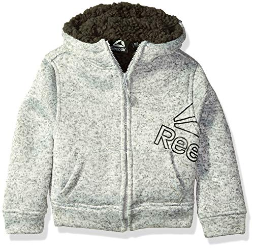 (Reebok Boys' Toddler Active Sweater Fleece Sherpa Jacket, Heather Grey, 4T)