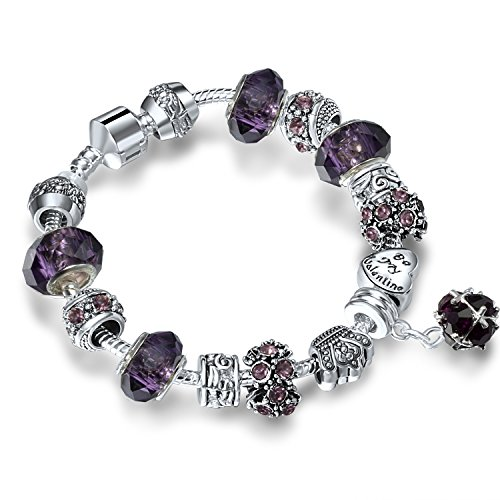 ATE Charm Bracelet Crystal and Murano Glass Beads for Women (Purple)