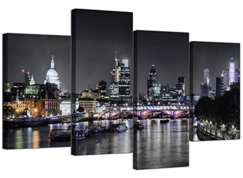 Wallfillers Canvas Wall Art Of London Skyline For Your Living Room 4 Panel Pictures 130cm x 67cm Black & White (Standard Furniture Bed Poster)