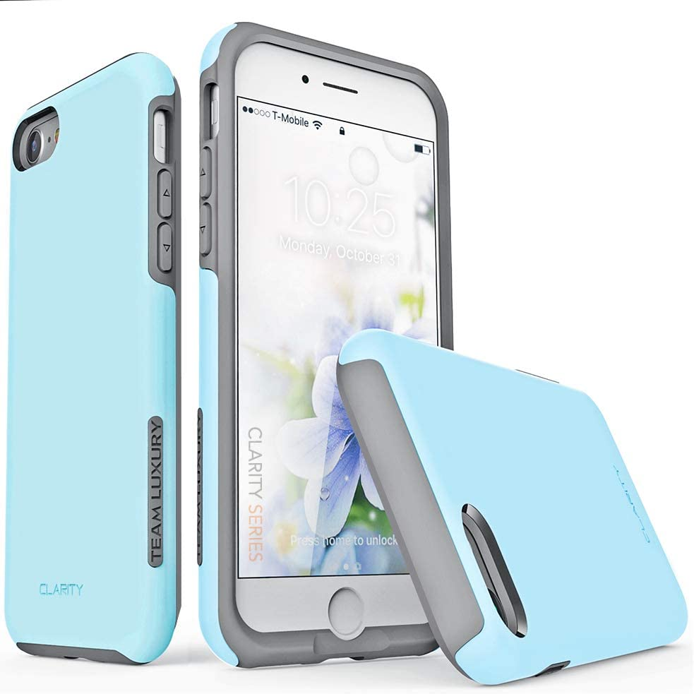 "TEAM LUXURY iPhone SE 2020 Case/iPhone 8 Case/iPhone 7 Case, [Clarity Series] Ultra Defender Shock Absorbent Protective Phone Case for Apple iPhone 8/7/SE 2nd Generation 4.7"" - Sky Blue/Gray"