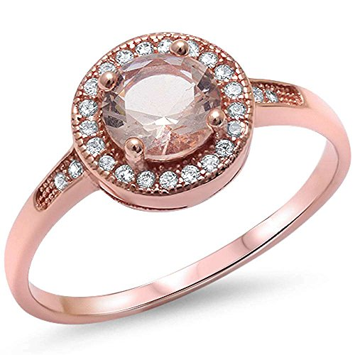 Oxford Diamond Co 1 25Ct Halo Set Solitaire Cubic Zirconia   Simulated Gemstone Promise Engagement Ring  925 Sterling Silver Ring Sizes 3 12 Colors Available
