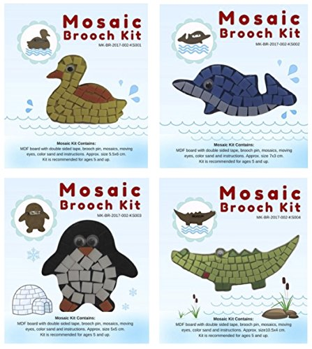 Mosaic Brooch Pin (DIY Mosaic Brooch/Pin Kit - A Pack of 4 Adorable Animal Design (Duck, Dolphin, Penguin, Crocodile). Perfect to Use as Brooch on Shirts/Blouse Or Pin for School Bags/Tote Bags/Pencil Cases)