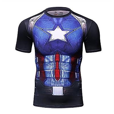 Red Plume Men's Film Super-Hero Series Compression Sports Shirt Skin Running Short Sleeve Tee (Leader D)