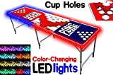 PartyPongTables.com 8-Foot Beer Pong Table w/Cup Holes & LED Lights - Beer Pong Edition