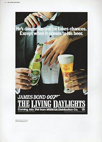 2002 Vintage James Bond  Hes Dangerous  Carlsberg Beer Us Mini Poster Art Litho