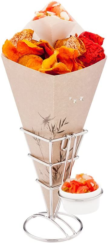 2.5 Inch x 5 Inch French Fries Stand, 1 With Sauce Holder Fry Stand - Spiral, Scratch Resistant, Silver Stainless Steel Cone Holder Stand, For Snacks, Appetizers, Or Desserts - Restaurantware