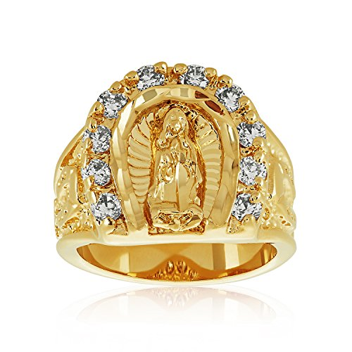 Large mm k Gold Plated Guadalupe Virgin Mary CZ Horseshoe