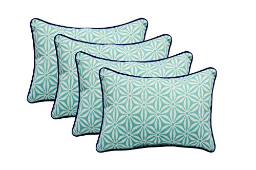 RSH DECOR Set of 4 Indoor/Outdoor Decorative Lumbar/Rectangle Pillows - Made with Tommy Bahama - Star Batik Caribe Blue Fabric (Pillows Outdoor Batik)