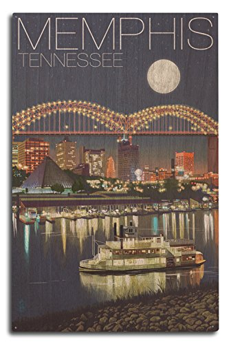 Lantern Press Memphis, Tennesseee - Skyline at Night (10x15 Wood Wall Sign, Wall Decor Ready to - Sign Arkansas Wood