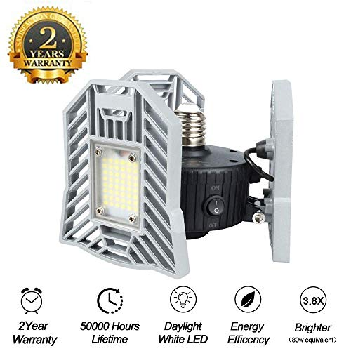 Motion Activated Ceiling Light 6000LM - Led Deformable Garage Light, High Intensity Mining Lamps, LED Ceiling Light, Radar Home Lighting for Garage, Warehouse,Workshop,Basement (Radar)