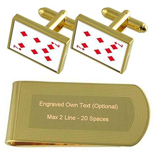Gold Set Engraved tone Playing number Gift Cufflinks Money Diamond 7 Card Clip c6IPqq4