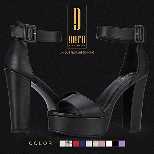 Picture of IDIFU Women's IN5 Sabrina Ankle Strap Platform High Chunky Heels Party Sandal